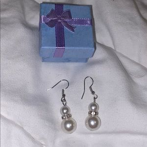new dangly diamond pearl earrings